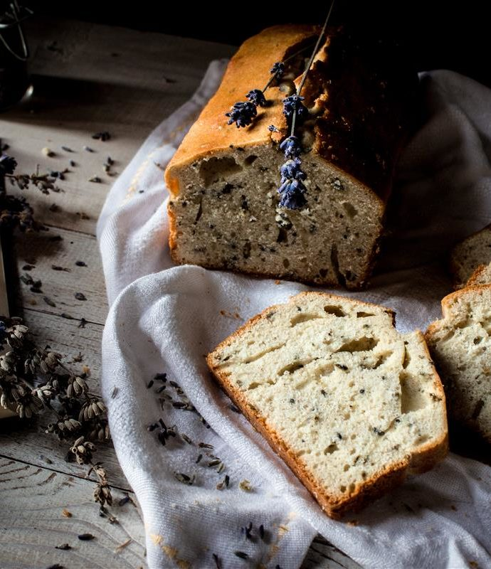 Lavender bread and herb butter