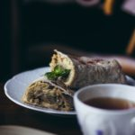 hummus and grilled eggplant wrap